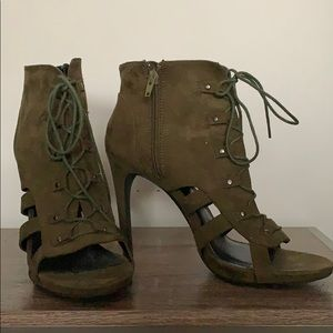 Army green lace up heel boots